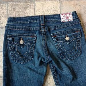 True Religion twisted seam flare jeans